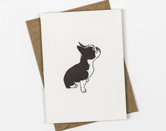 French Bulldog Card - Frenchie card - Thank you cards - Letterpress note cards - Small note cards - Dog card - Frenchie Birthday Card