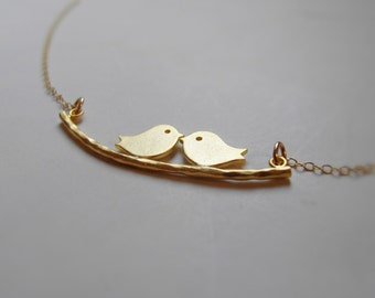 Two love birds on a branch (necklace) - 14k gold plated charm with 14k Gold-Filled chain