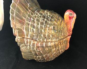 Vintage Multicolor Ceramic Thanksgiving Turkey Tureen Candy Dish