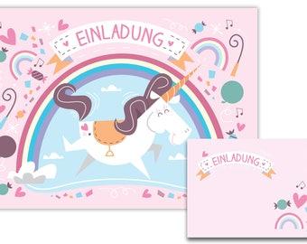 10 invitations + envelopes Unicorn