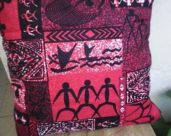 Red Polynesian Pillow With Hawaiian Motif