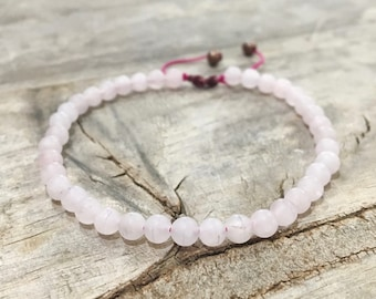Bracelet rose quartz macrame Bohemian hippie Gypsy Buddhist PROTECTION women ethnic jewelry