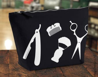 Gentleman's Barber Tools Wash Bag Men's Scissors Cut Throat Razor Badger Brush Moustache Comb Toiletry Canvas Kit Mans Beard zip up Face