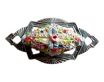 Art Deco Vintage Floral Pin - Bouquet Brooch - Floral Pin Brooch