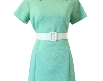 Women's 1960's Dress Seafoam Green - Crimplene Double Knit Polyester - Tent Dress - Authentic Vintage - Size Large