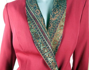 European Vintage Long Blazer, Red Double-Breasted Jacket w Burnished Gold Floral Wide Shawl Collar and Turned-Up Cuffs: Size 14 US, 18 UK