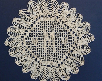 "Custom Crocheted Initial Doilies ""M"""