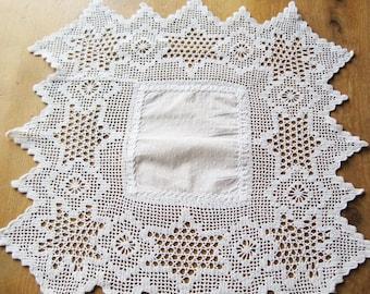 """Antique 15"""" Edwardian Cotton Doily Lace Tablecloth,  Vintage Lace Tablecloth, Hand-made Lace, Downton Abbey"""