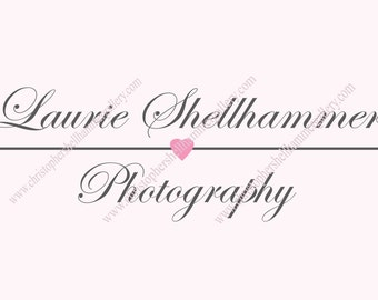 Do it yourself Premade Fine Art Logo Pink Heart, Promotion For Limited Time Low Price, for Photography or Shop, Instant Download PSD File