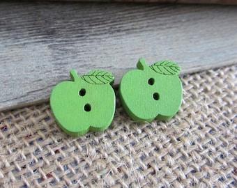 10 x 17mm Green wooden Apple buttons