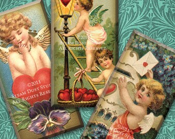 Victorian Valentines - Antique Cherubs, Hearts, Love - 1x2 Inch Domino Tile Images - Digital Collage - Instant Download
