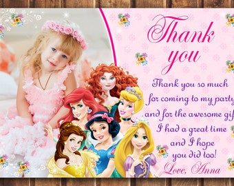 SALE Disney Princess thank you card, Disney Princess card, Princess thank you card, disney princess thank you card digital -digital f