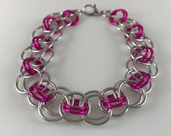 Sale 25% off Pink and Silver Helm Chain Chainmaille Bracelet