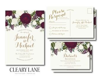 Vintage Wedding Invitation RSVP Postcard Info Card Set Fall Wedding Vintage Floral Floral Wedding Vintage Wedding Wedding Set #CL158