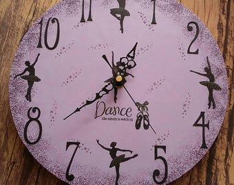 Ballerina Clock, Dance like nobody's watching, ballerina, clock, handmade clock, handmade, girls clock, dancing,sparkly clock, teenager