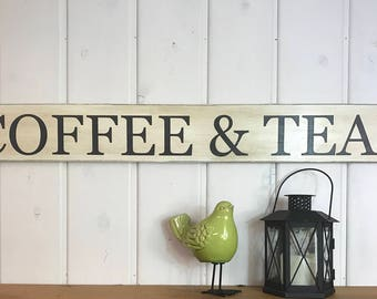 """Coffee and tea sign   rustic wood sign   kitchen decor   coffee sign   coffee bar sign   coffee lovers gift   48"""" x 5.25"""""""