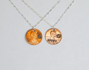 Cancer Necklace, Cancer Pendant, Birthday Necklace, Birthday Necklace, Cancer Birthday, Lucky Penny, Penny Necklace, Birthday Gift, Cancer