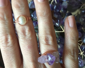 Wire Wrapped Ring, Statment Ring, Brides Maid Gift, Birthday Gift, Amethyst Ring, Rose Gold Ring