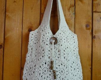 Crochet bag Cream  handmade crochet handbag .Summer cotton boho crochet purse knit bag knit handbag knit purse. Made to order!