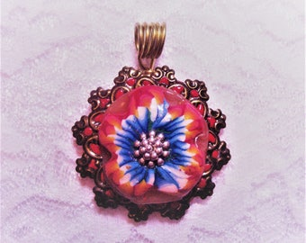 Polymer Clay Red &  Blue Filigree Focal Bead Pendant OOAK