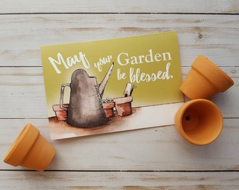 Gardener Card/Spring Card/Gardener's Blessing/Just Because Card/Watering Can/Flower Pots/Green Thumb Card