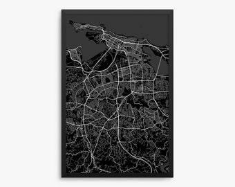 San Juan, City Street Map, San Juan Puerto Rico, Modern Art Print, San Juan Decor, Puerto Rico Gift, Office Decor, Home Decor, Gift Idea