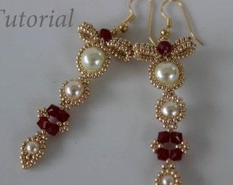 PRF tutorial beaded earrings Bow_Swarovski crystals_pearl_seed bead_beading