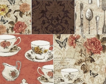 Afternoon Tea Fat Quarter Bundle by Windham Fabrics, French Country Fabric, Tea Time Fabric, Tea Cup Fabric, Tea Fat Quarter Bundle
