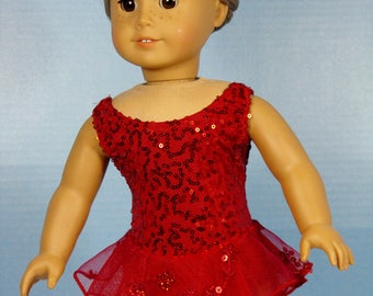 Sleeveless Red Sequin Embroidered Ice Skating Dress for an American Girl Doll