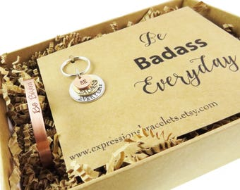 Gift Set Ready to Ship | Gifts for Her Hand Stamped Key Chain and Bracelet | Be Badass |  expressions bracelets