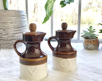 Vintage Oil & Vinegar Ceramic Bottles, Vintage Ceramic Bottle Set,Oil and Vinegar Bottles, Ceramic Decanters,Vintage Serveware,Decanter Set