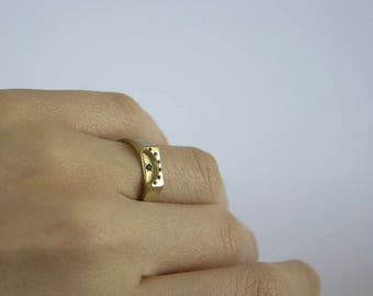 Gold Sunset Ring with sapphires, Sunset  jewelry, Sunset ring , geometric Sunset  ring, engagement Sunset  ring, minimalist Sunset ring