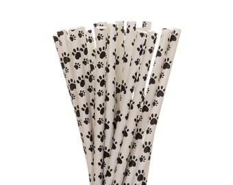 Cannucce di carta, zampa stampa carta cannucce, articoli per feste adozione cucciolo, cane compleanno carta festa cannucce, cannucce di carta stampa zampa in bianco e nero