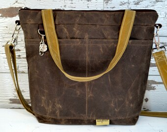 Travel  Bag Waxed Canvas Vegan Tote / cross body Tote, made in the USA by Darby Mack  /  Espresso brown