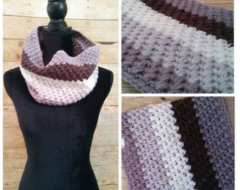 Textured Cowl, Ombre Infinity Scarf, Gray Black White Neck Warmer, Winter Accessory, Ombre Cowl, Striped Scarf