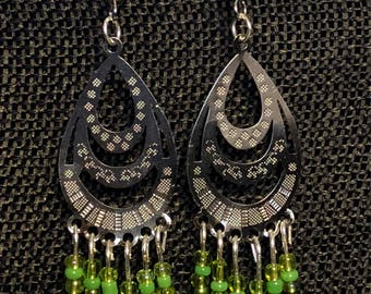 Shades of Greens Earrings thin Stainless Steel