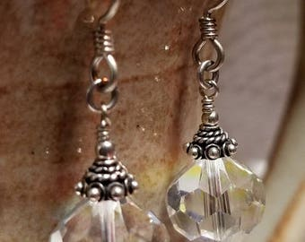 Handmade Earrings - VINTAGE Crystals, topped with Bali Caps, on Sterling Silver Earwires