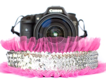 Sequin Camera Strap Silver with Bright Pink Tulle