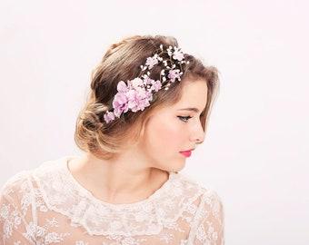 wedding accessories, bridal flower crown, wedding headpiece, head wreath in purple, hair accessories, bridal, flower girl