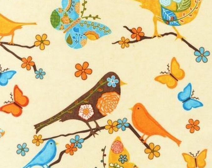 Rare FINALLY FREE BIRDS Cream Retro Novelty Cotton Bird Quilt Fabric - Remnant - Robert Kaufman Out of Print