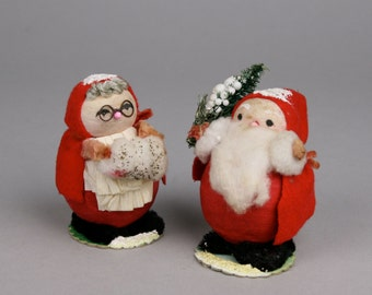 Santa Claus and the Missus, Spun Cotton Heads, Kitschmas Decorations made in Japan