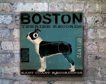 BOSTON terrier records dog artwork illustration gallery wrap on canvas by Stephen Fowler geministudio