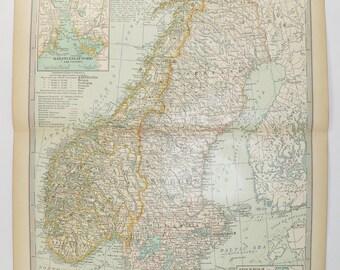 1899 vintage norway map sweden antique map scandinavia northern europe antique sweden map