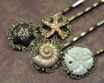 Sea Shell Treasures Set of 4 Glittering Shell Bobby Pins Hair Sticks Summer Brides Beach