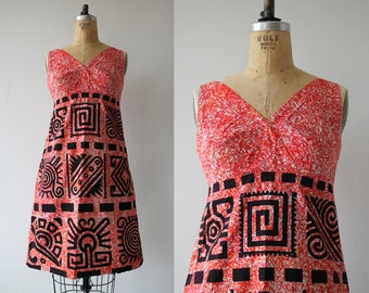 1960s vintage hawaiian dress / 60s red tiki dress / 60s geometric print dress / batik sun dress / Acapulco souvenir dress / s small