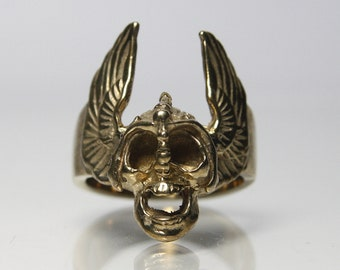 Vintage Winged Scull Biker Ring Brass