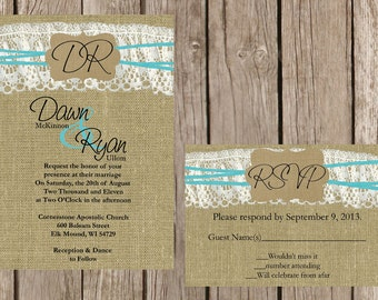 Rustic Wedding Invitation, LaceWedding Invitation, Burlap Wedding Invitation, Country Wedding Invitation, Custom