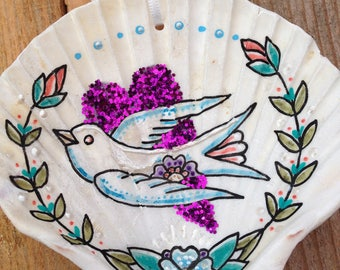 Christmas Heart & Festive Dove, Illustrated Sea Shell, Christmas Tree Decoration, Ornament