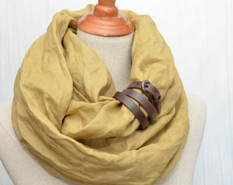 Linen scarf, Linen Infinity Scarf, Chunky Scarf, Natural Linen, Mustard. Brown leather cuff.
