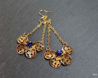 Gold plated prints blue Swarovski elements crystal earrings